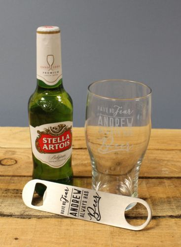 Personalised Stella and bottle opener Gift Set